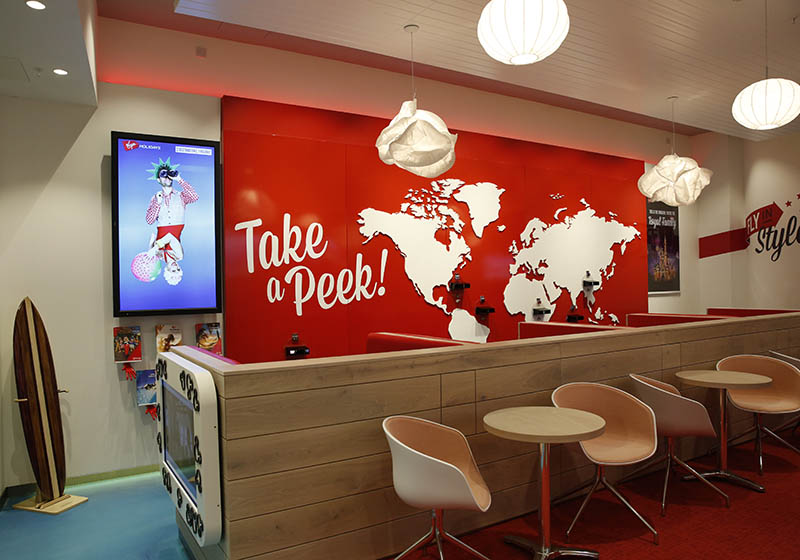 Virgin Holidays Retail Interior Booths and chairs