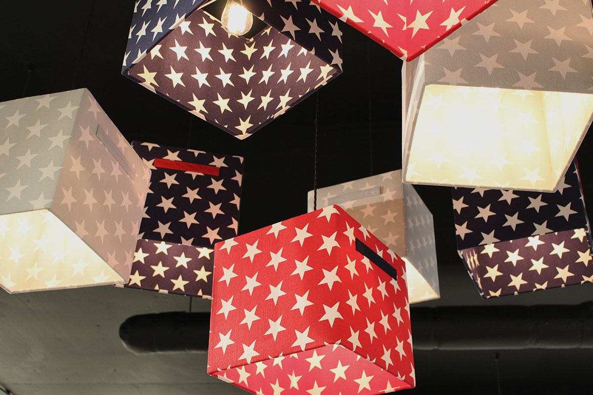 Cube Lights In Star Patterned Lamp Shades