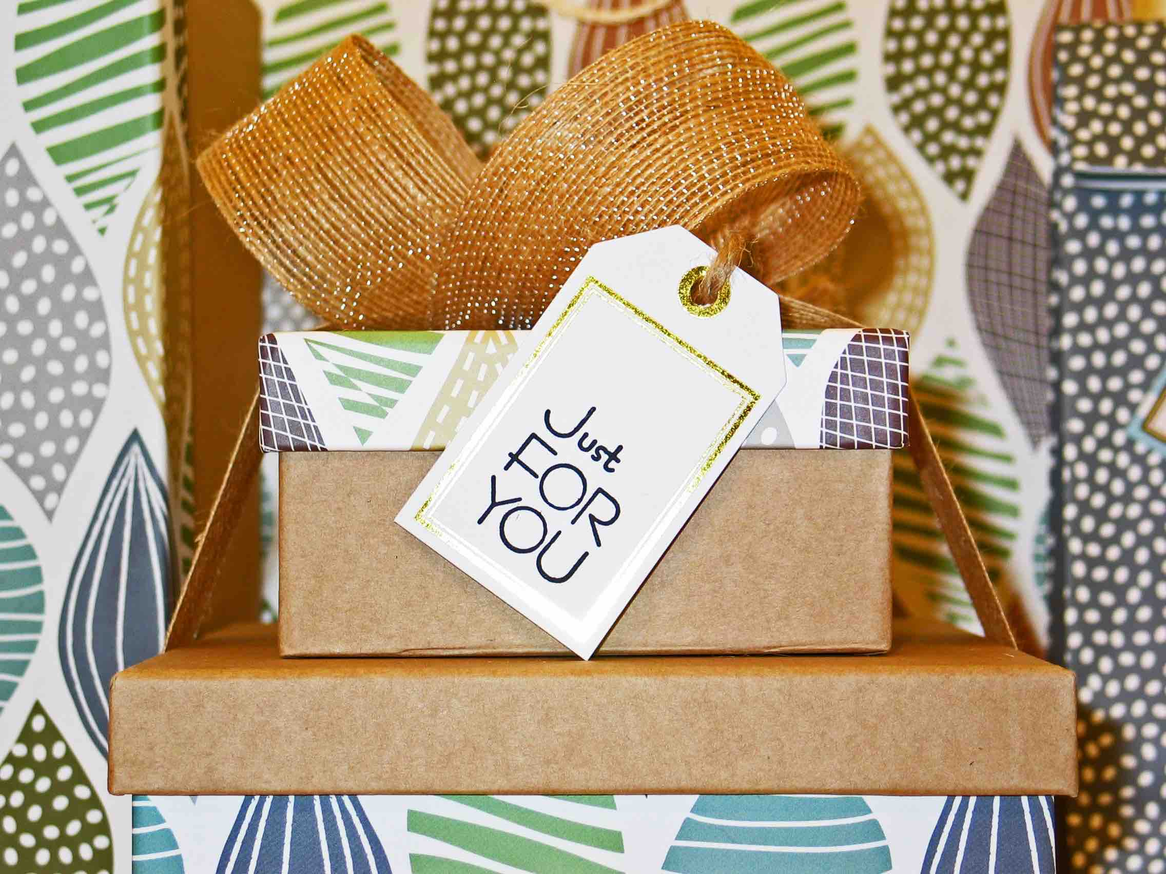 Patterned Gift With Just For You Tag