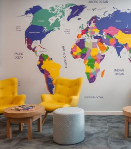 Co-Op Travel Chairs and Map Wall