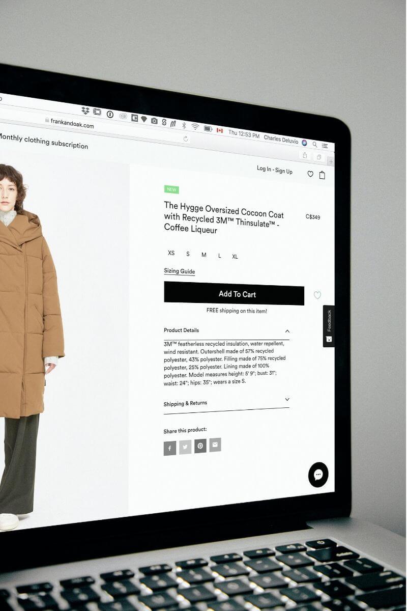online shopping sreen