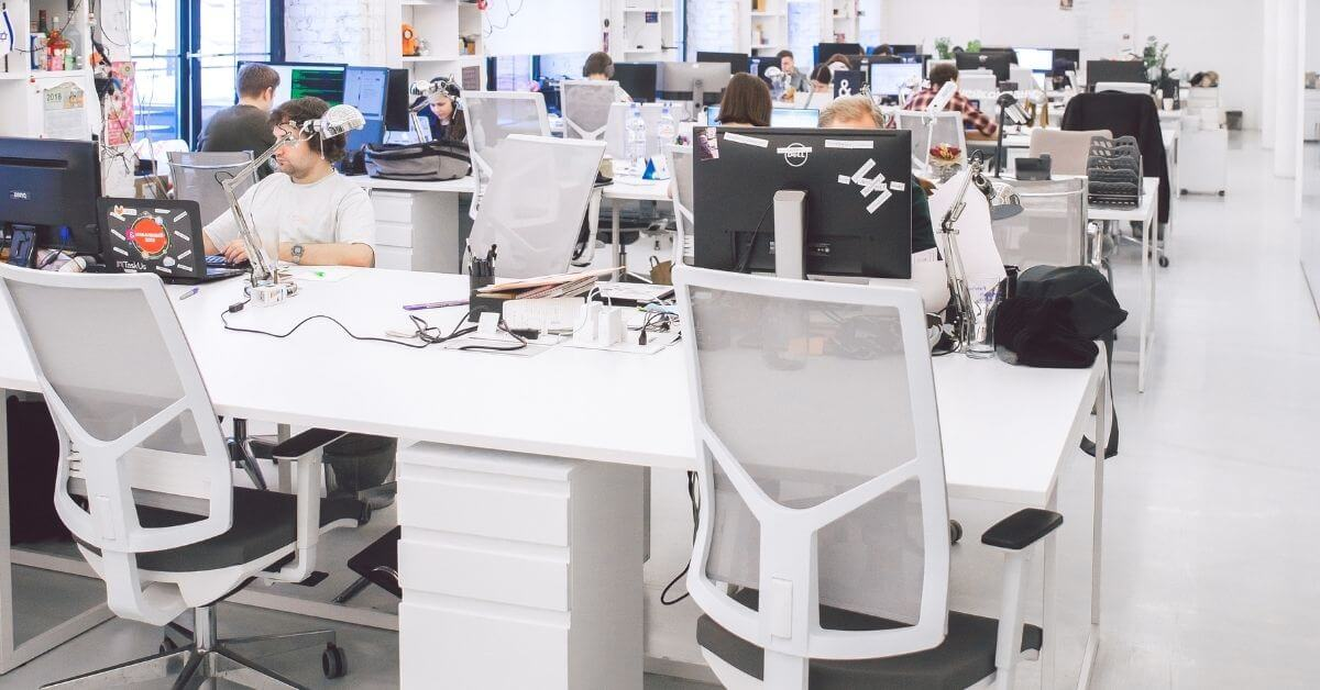 busy white working office space