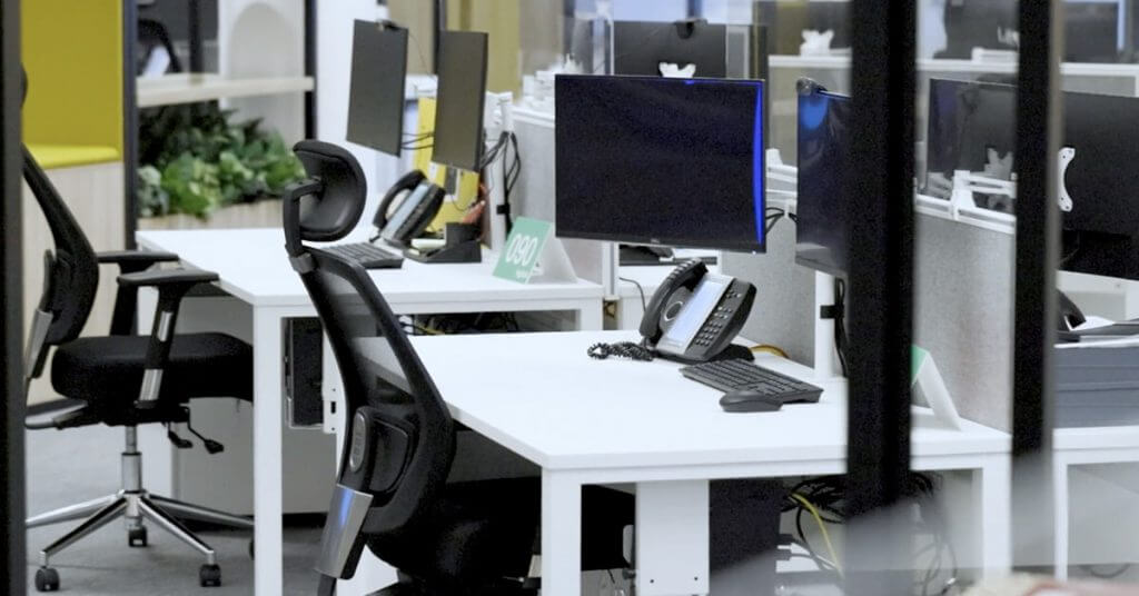 two white offices desks